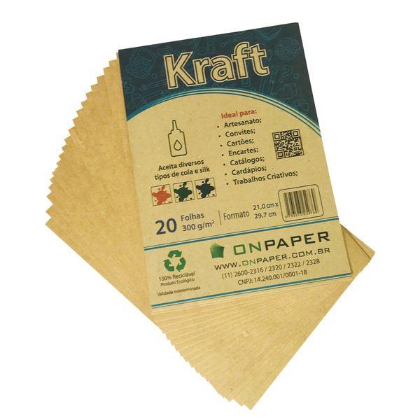 Papel Kraft A4 300G com 100 folhas  - Loja Onpaper