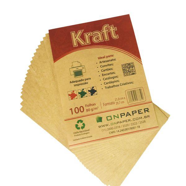 Papel Kraft A4 80G Monolúcido com 200 folhas  - Loja Onpaper