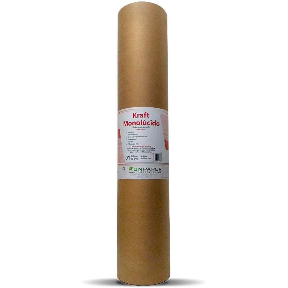 Bobina Kraft Monolúcido 80G L60 cm com 50 metros  - Loja Onpaper