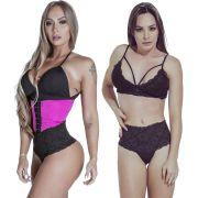 Kit Cinta Modeladora Curta 2 Colchetes Pink  Calcinha Modeladora Preta