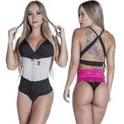 Kit Cinta Modeladora Longa 2 Colchetes Chocolate  Calcinha Modeladora Pink