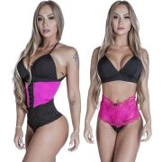 Kit Cinta Modeladora Longa 2 Colchetes Pink + Calcinha Modeladora Pink