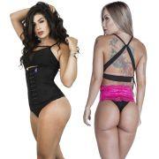 Kit Cinta Modeladora Longa 4 Colchetes Preta + Calcinha Modeladora Pink