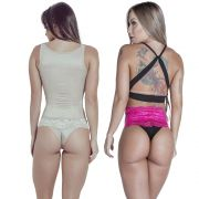 Kit Corselet 2 Colchetes Chocolate  Calcinha Modeladora Pink