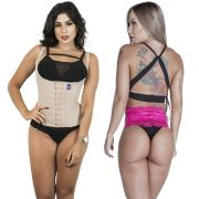 Kit Corselet 4 Colchetes Chocolate + Calcinha Modeladora Pink