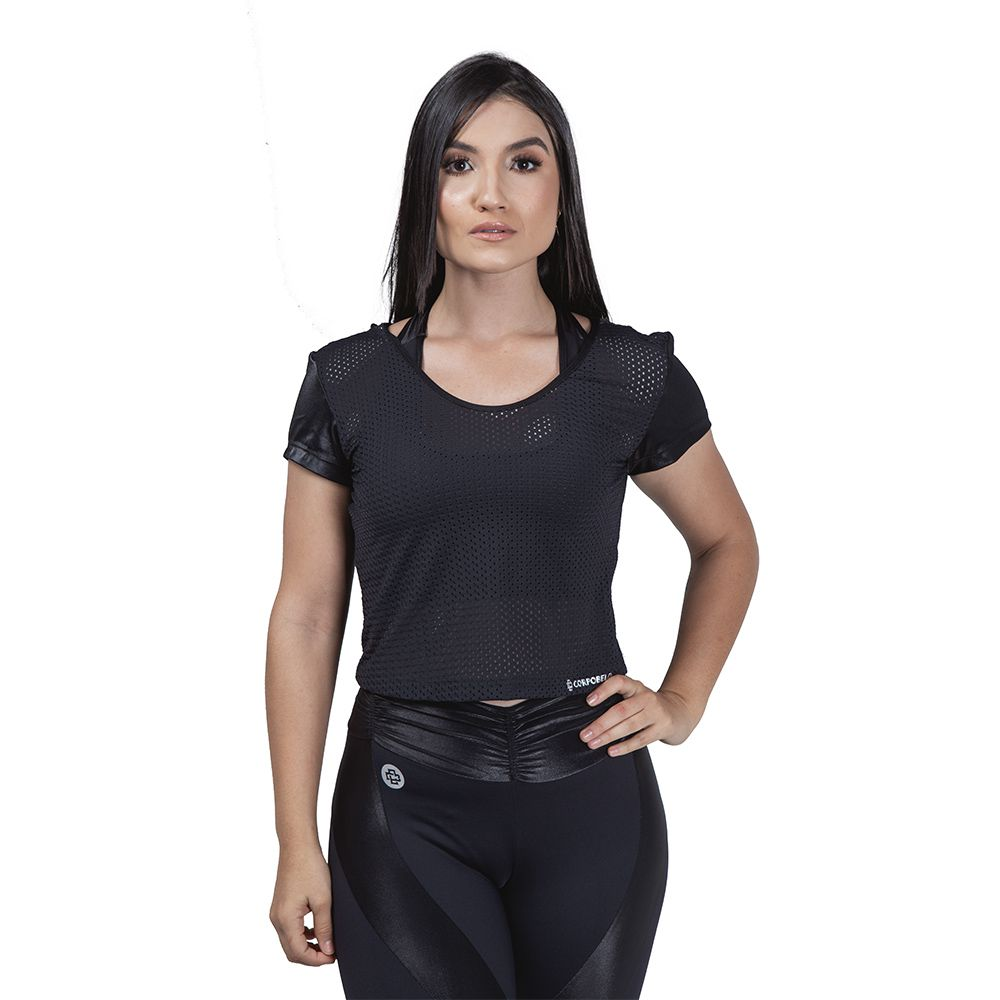 Blusa Cropped Dimension - Preto