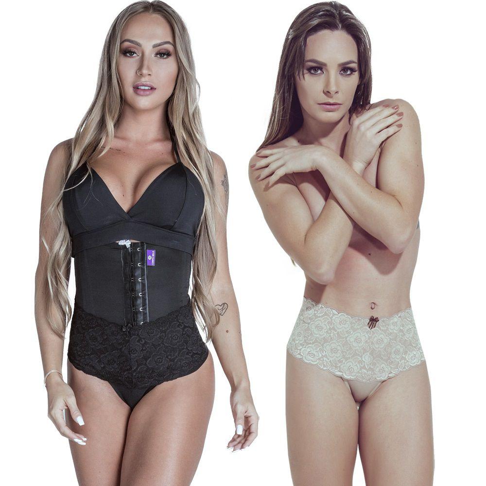 Kit Cinta Modeladora Curta 2 Colchetes Preta  Calcinha Modeladora Chocolate