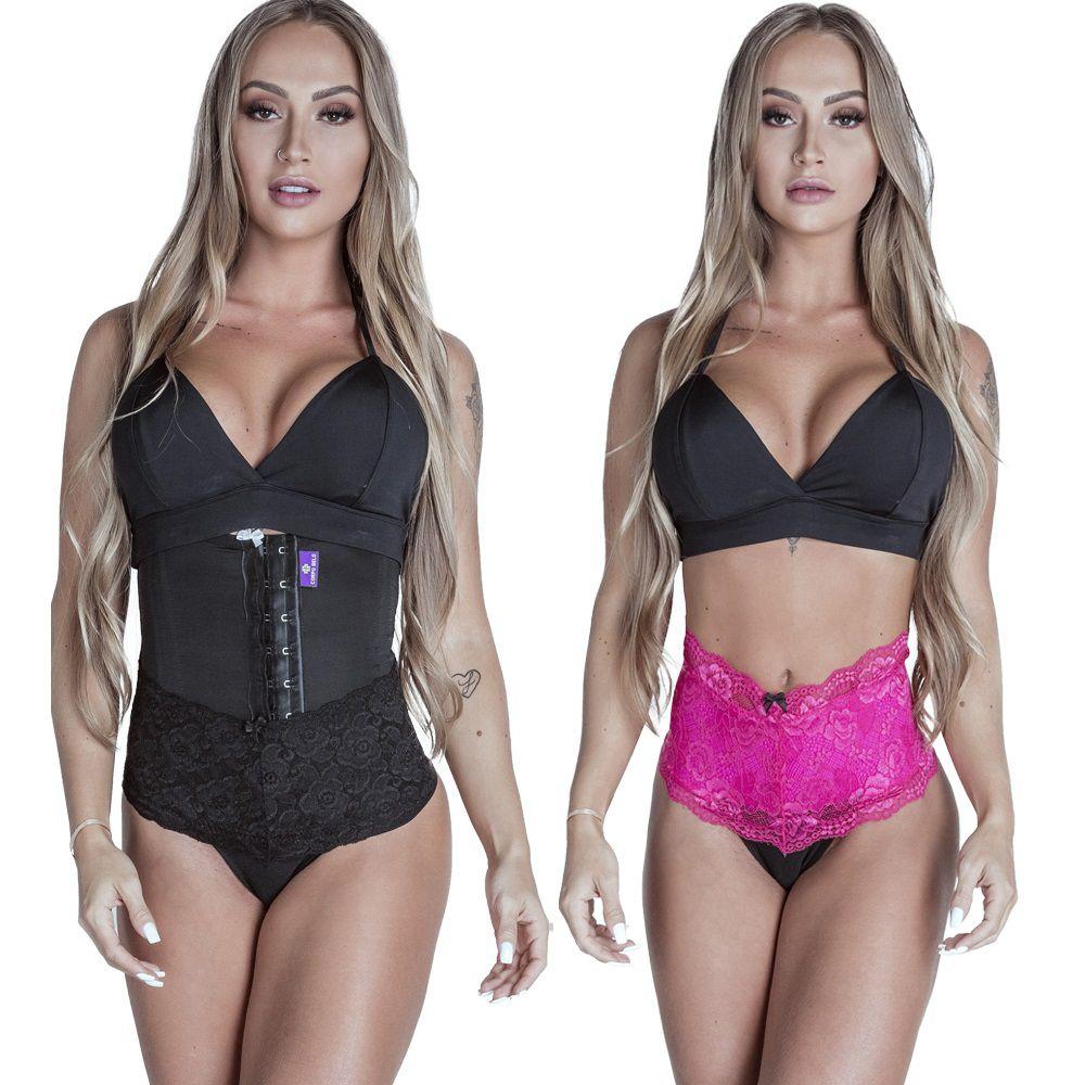 Kit Cinta Modeladora Curta 2 Colchetes Preta + Calcinha Modeladora Pink