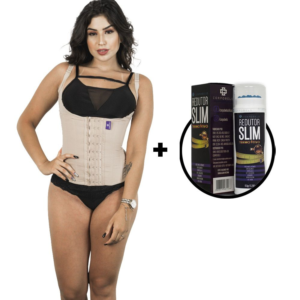 Kit Corselet 4 Colchetes Chocolate + Gel Redutor