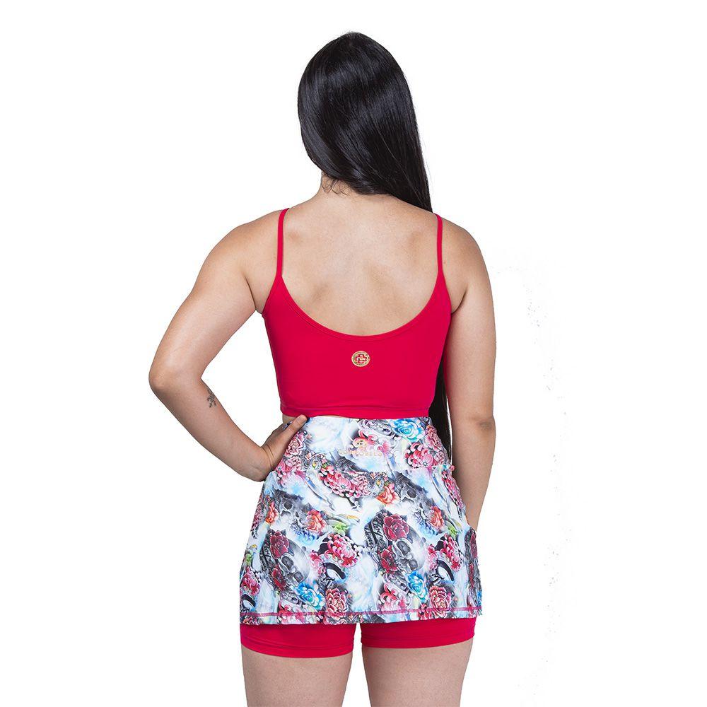 Short Saia Tropical - Vermelho
