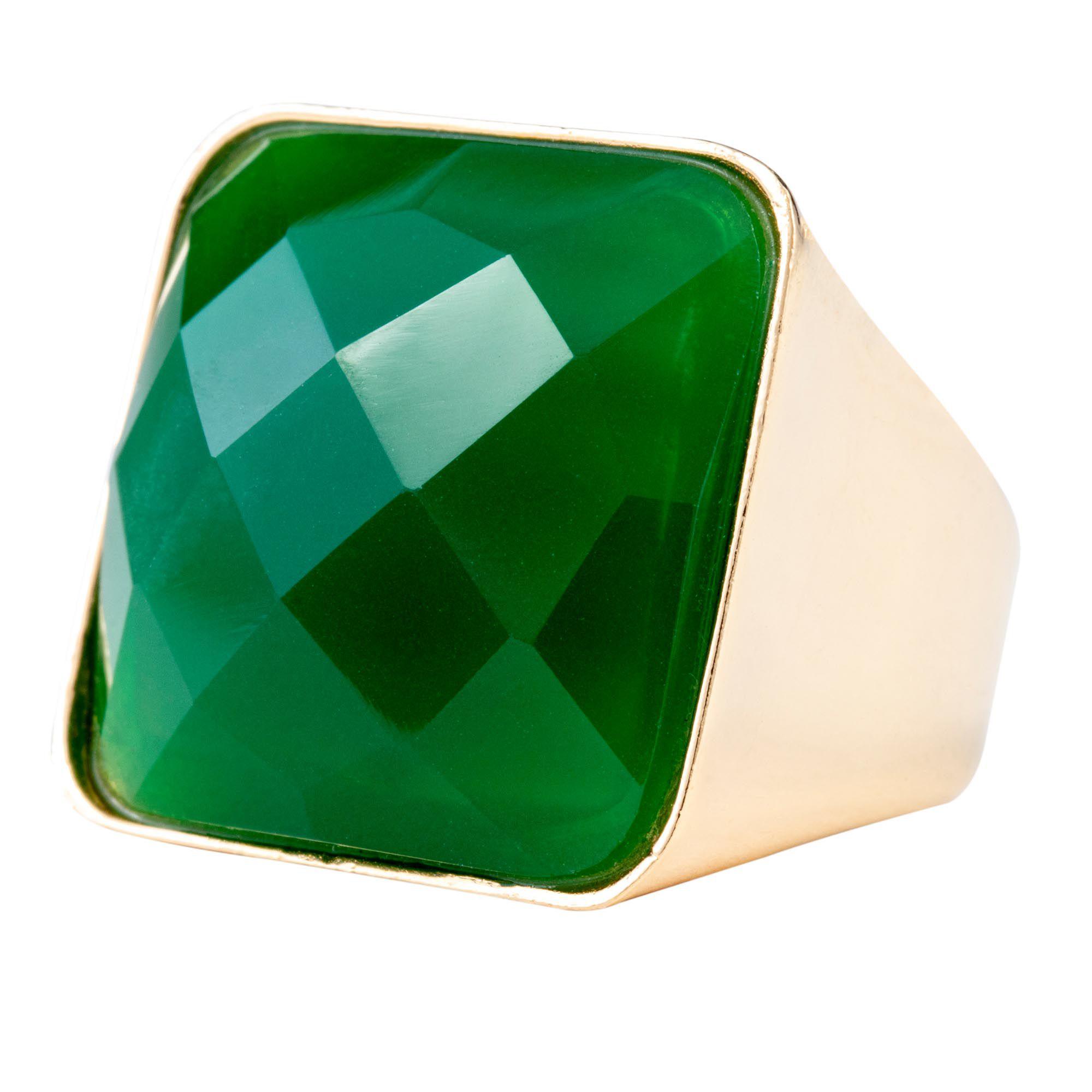 Anel Cancun, com Jade verde, folheado no ouro 18k.