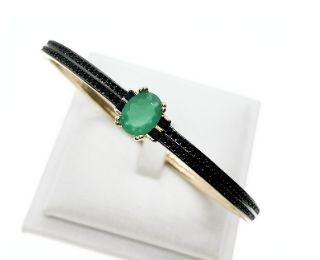 Bracelete Andaluzia Jade Verde, folheada no ouro 18k.