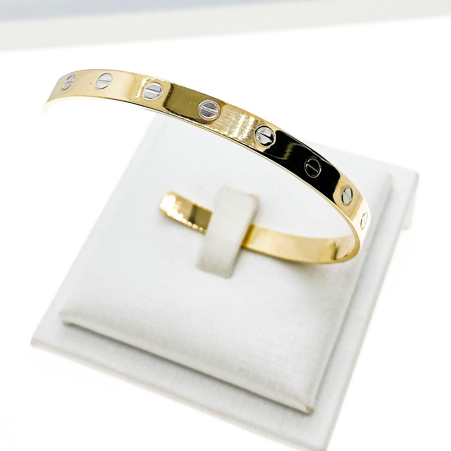 Bracelete Cartier Inspired, folheado no ouro 18K.