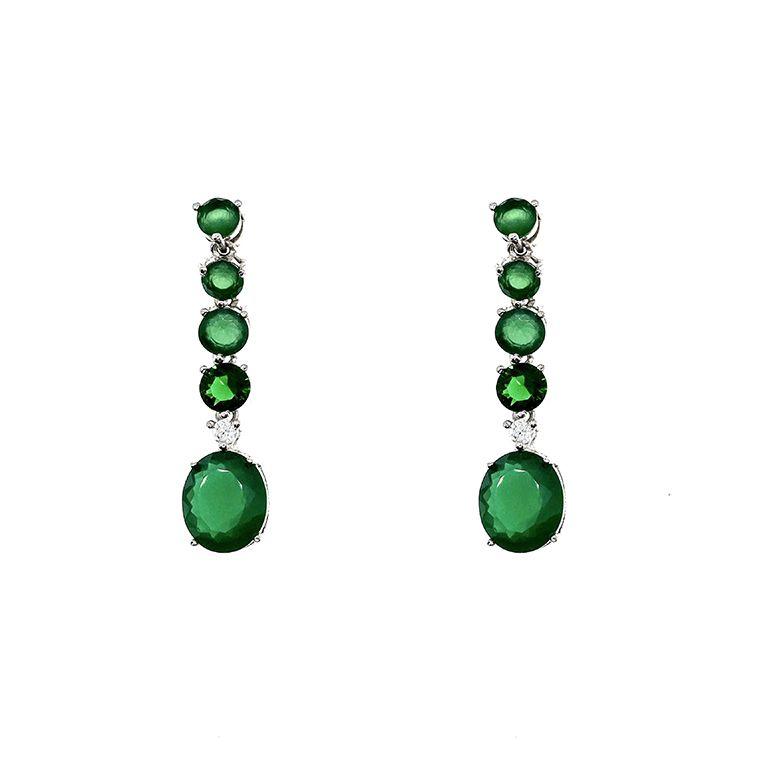 Brinco Island Jade verde, folhado no ródio branco.