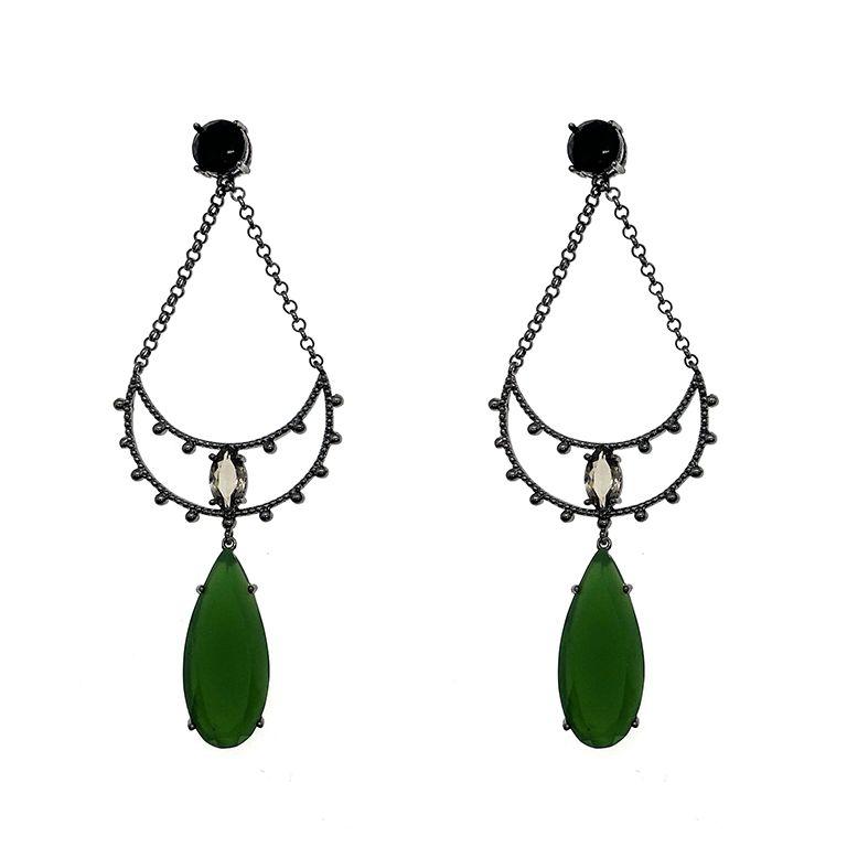 Brinco Cartagena Jade verde e Onix, folheado no ródio negro.