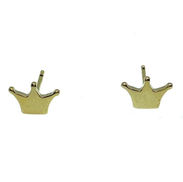 Brinco Little Crown, folheado no ouro 18k.