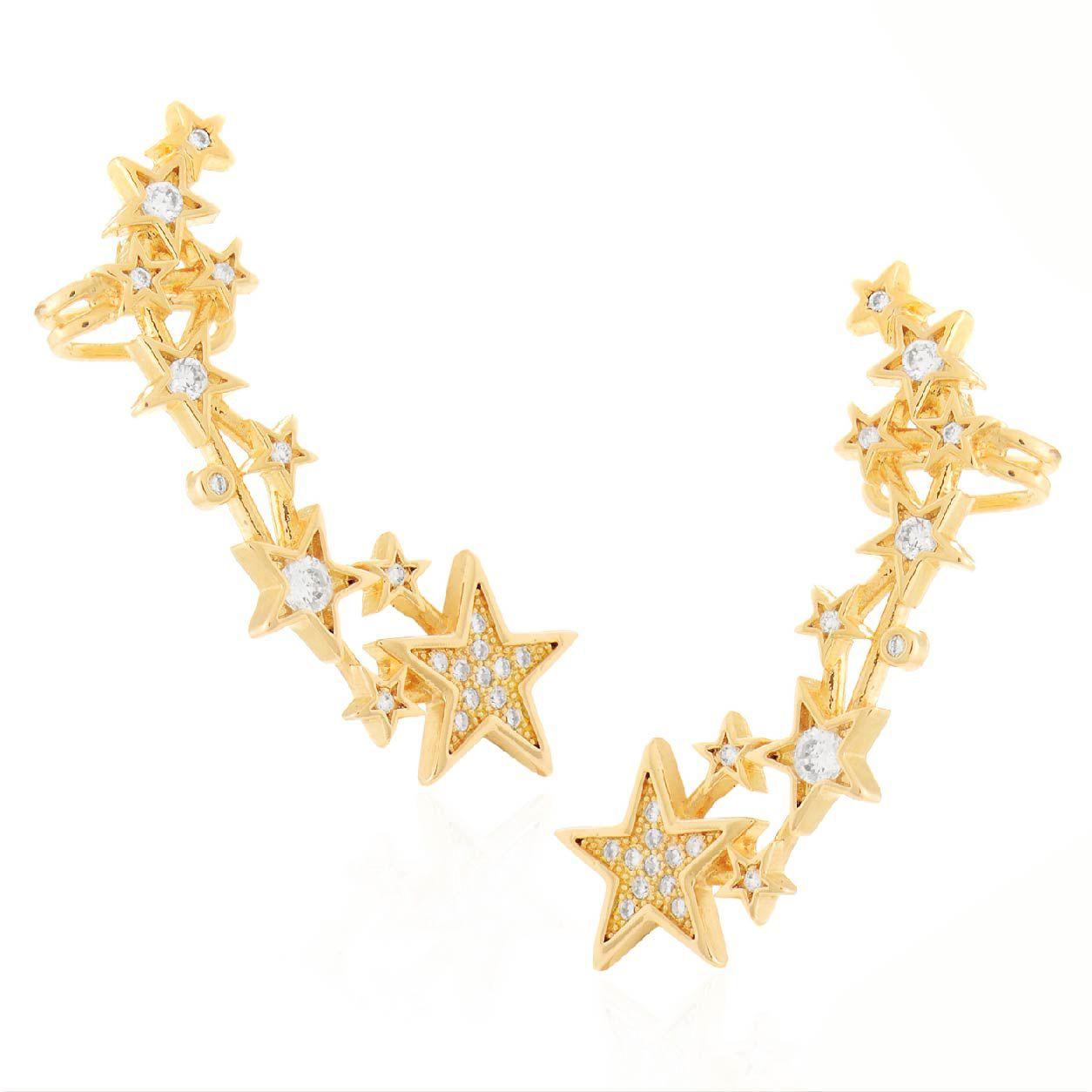 Brinco Stars ear cuff, folheado no ouro 18k.