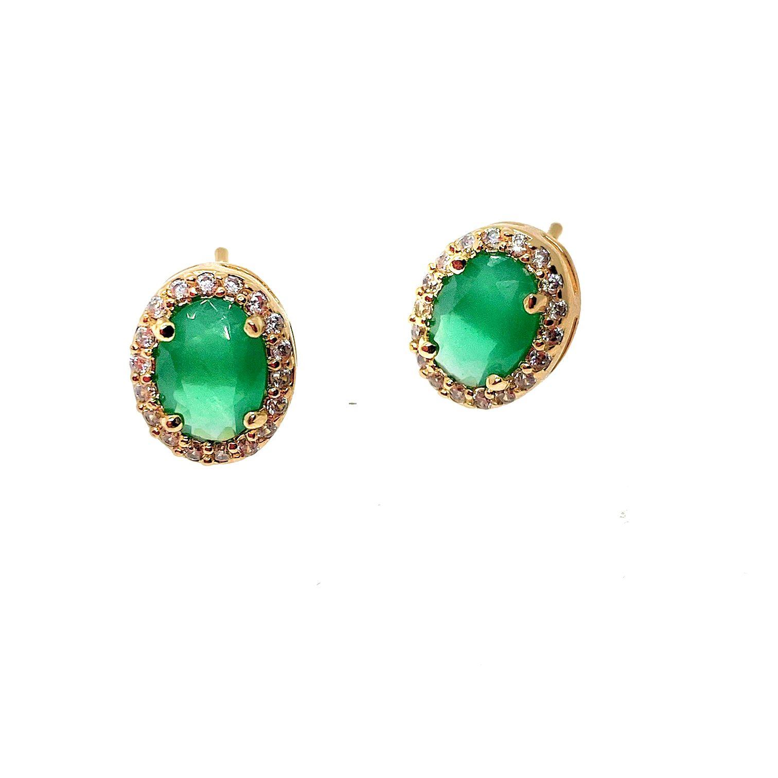 Brinco Veneza Jade verde, folheado a ouro 18k.
