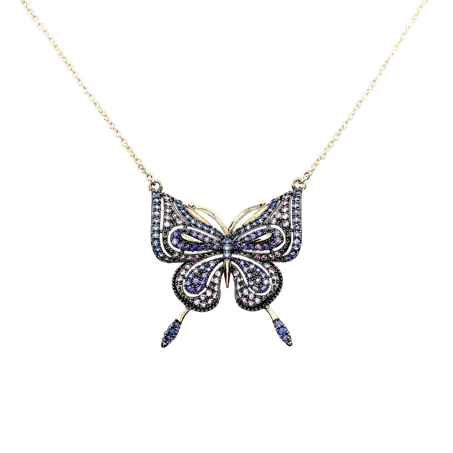 Colar Butterfly, cravejado com diamonic, folheado ouro 18k.