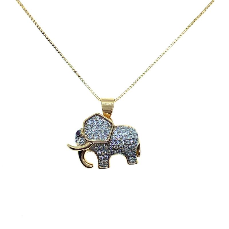 Colar Elephant, folheado no ouro 18k.