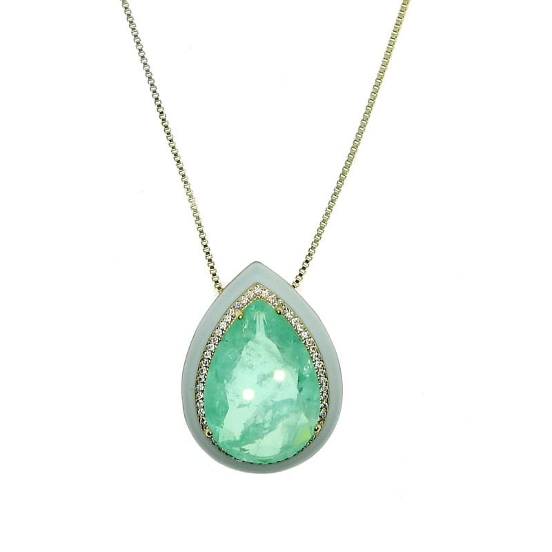 Colar Playa, cristal Turmalina Paraíba Verde, cravejado com diamonic, folheado no ouro 18K.