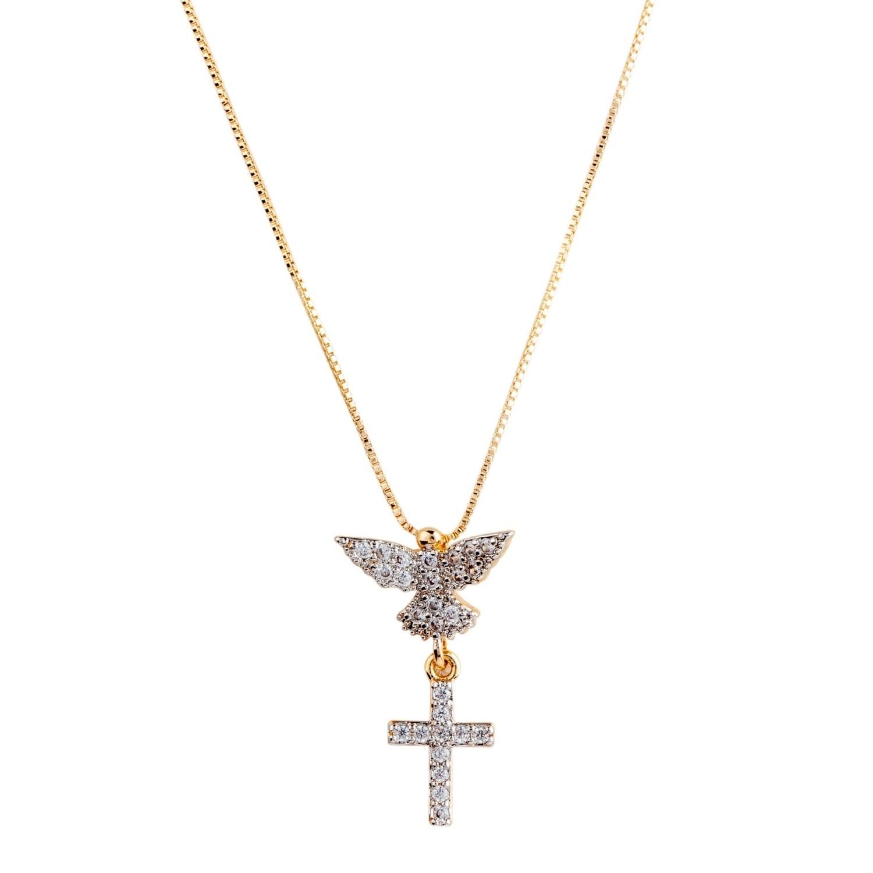 Colar proteção Espírito Santo e Cruz, folheado no ouro 18k, cravejado com diamonic.