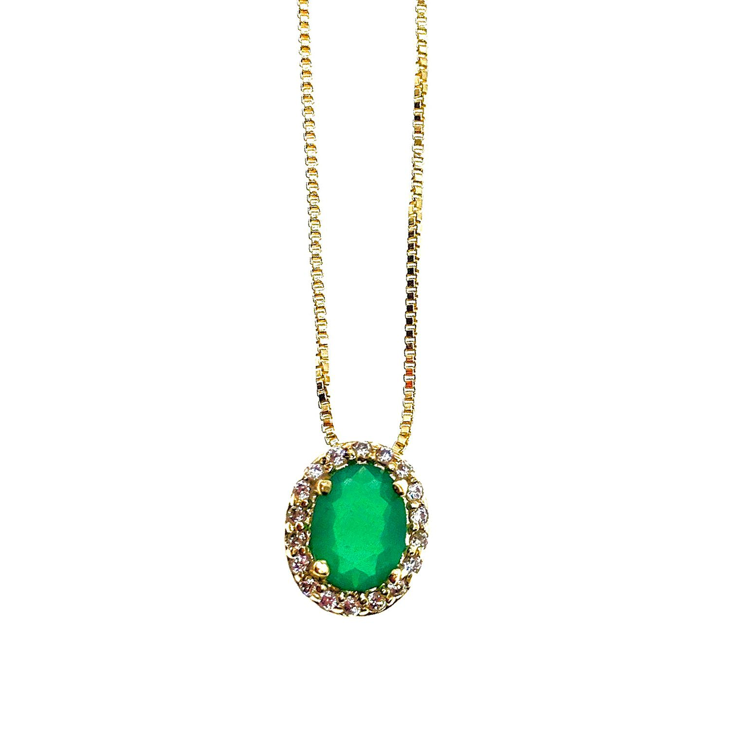 Colar Veneza Jade verde, folheado no ouro 18k.