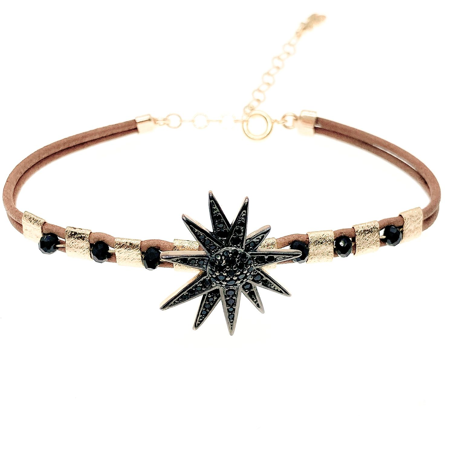 Pulseira Star diamonic negro, folheado no ouro 18k