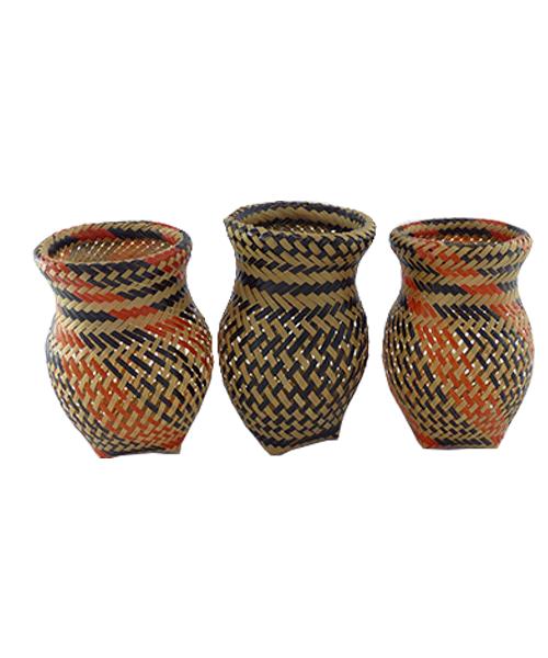 Trio de Vasos Decorativos | Arte Indígena | Baniwa M1  - KAUAR