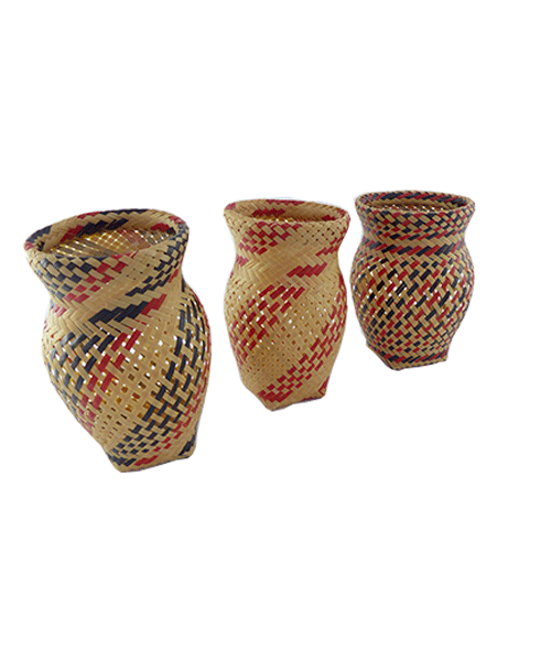 Trio Vasos Decorativos   Arte Indígena   Baniwa M2  - KAUAR