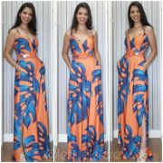 Macacão estampa azul e laranja