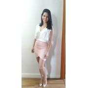 Saia bianca preto e rosa