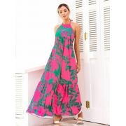 Vestido Grécia pink e verde