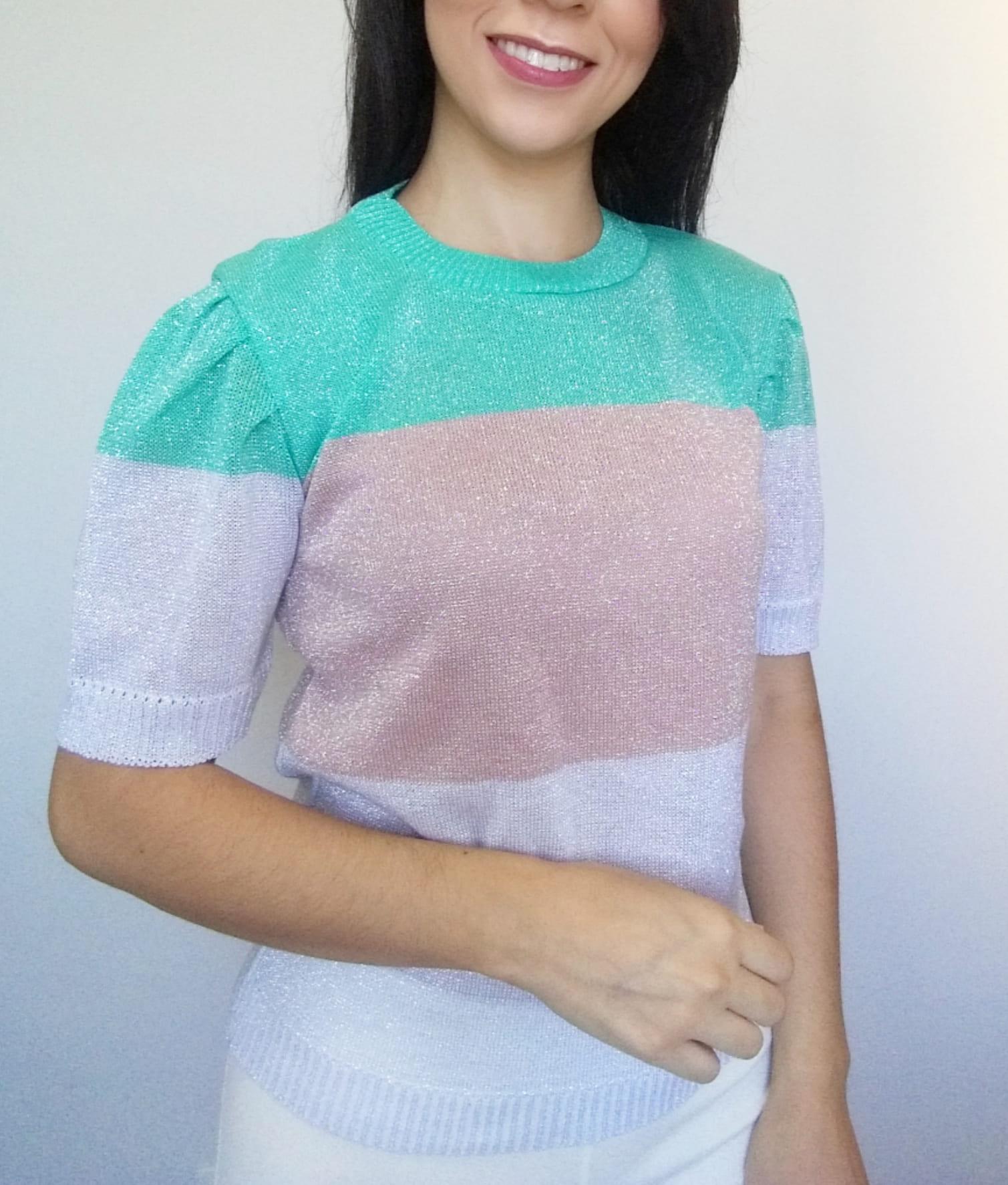 Blusa tricô luréx várias cores