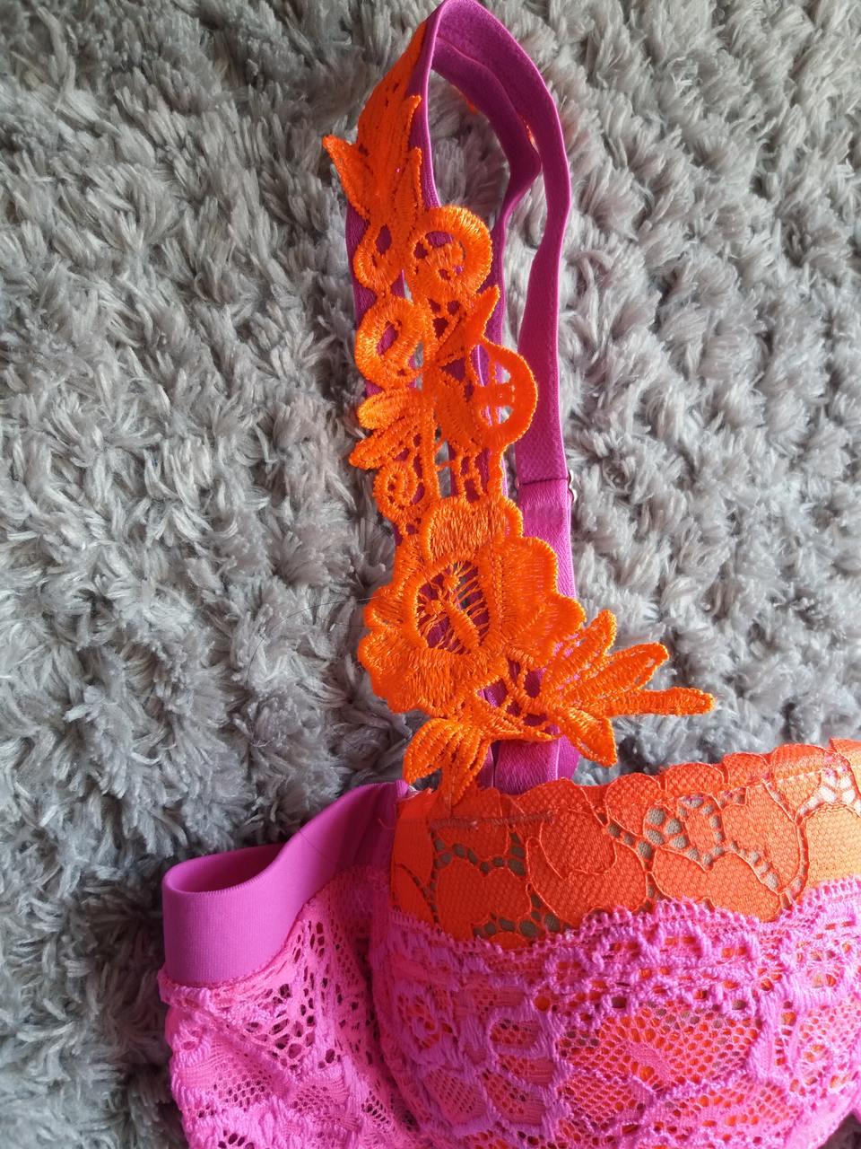 Conjunto de lingerie pink e laranja