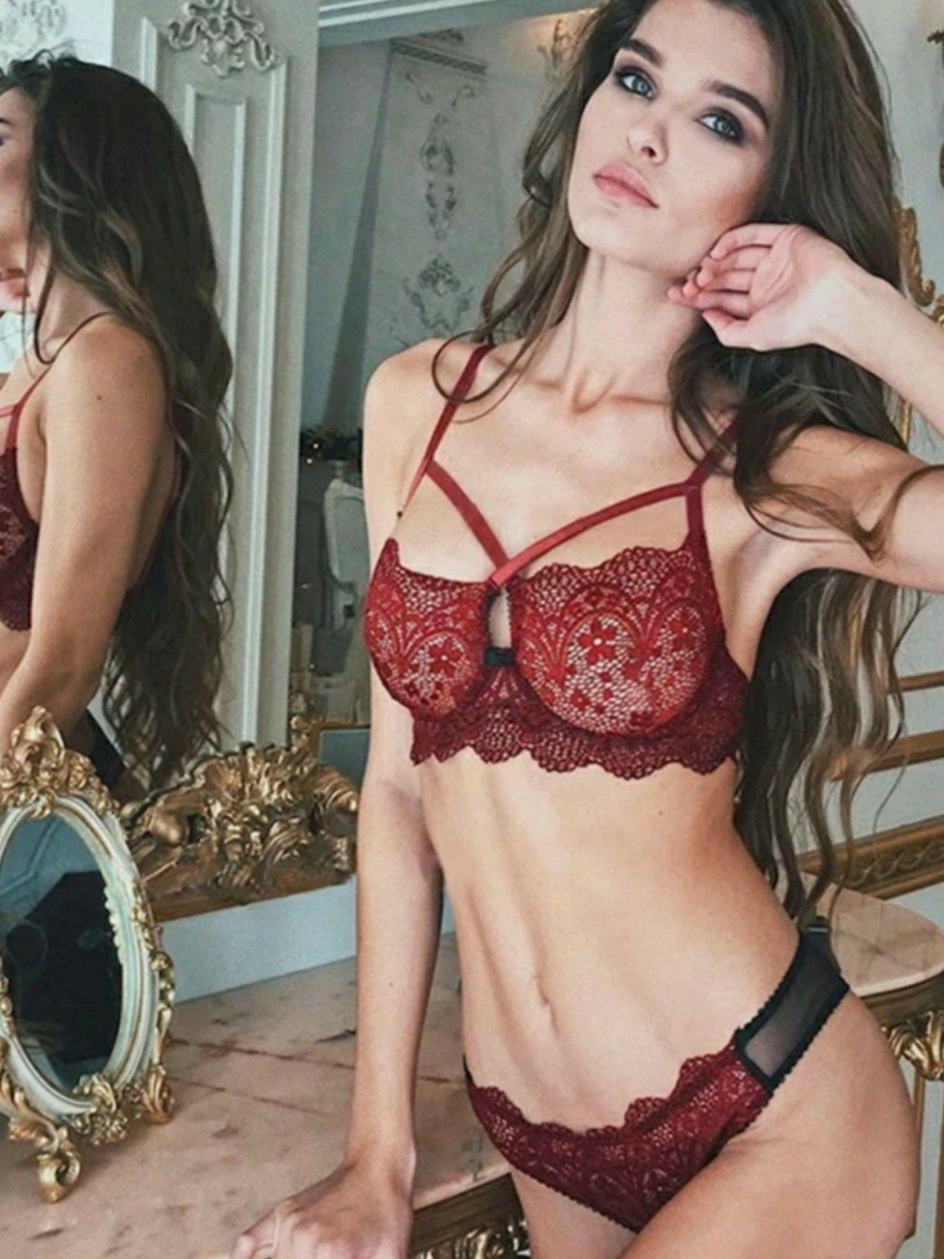 Conjunto lingerie renda vermelho
