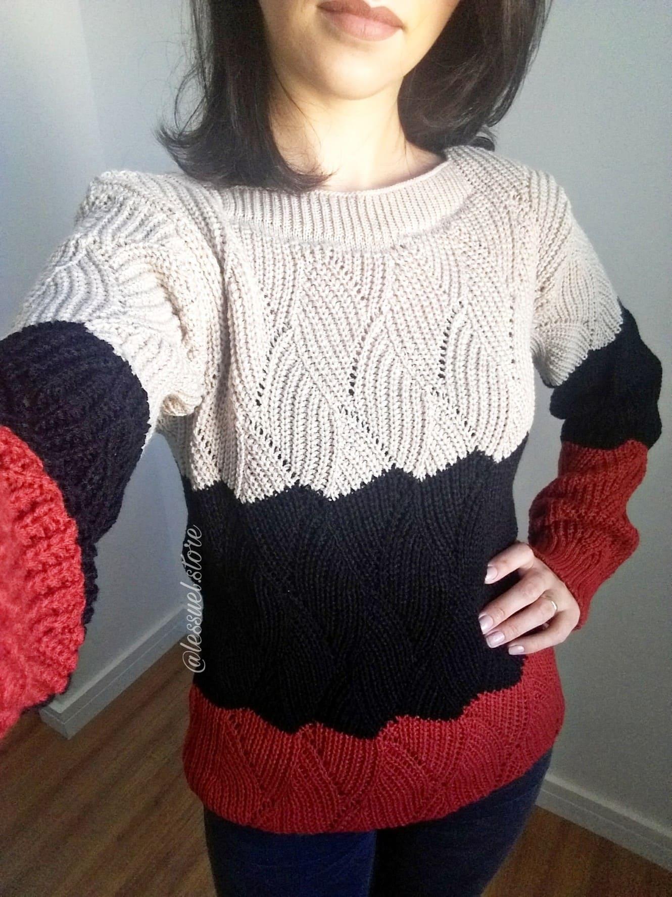 Suéter em tricô 3 cores