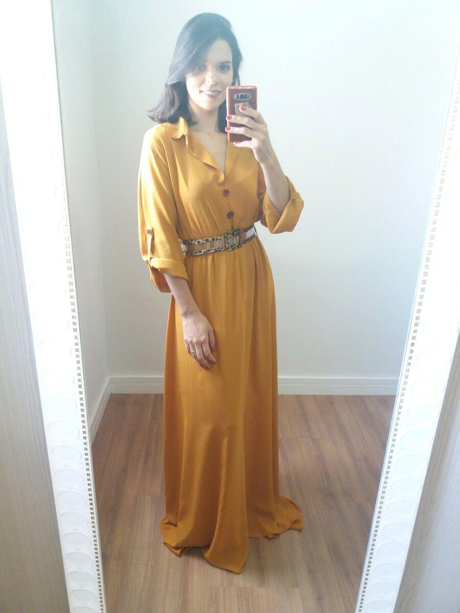 Vestido chemise longo mostarda