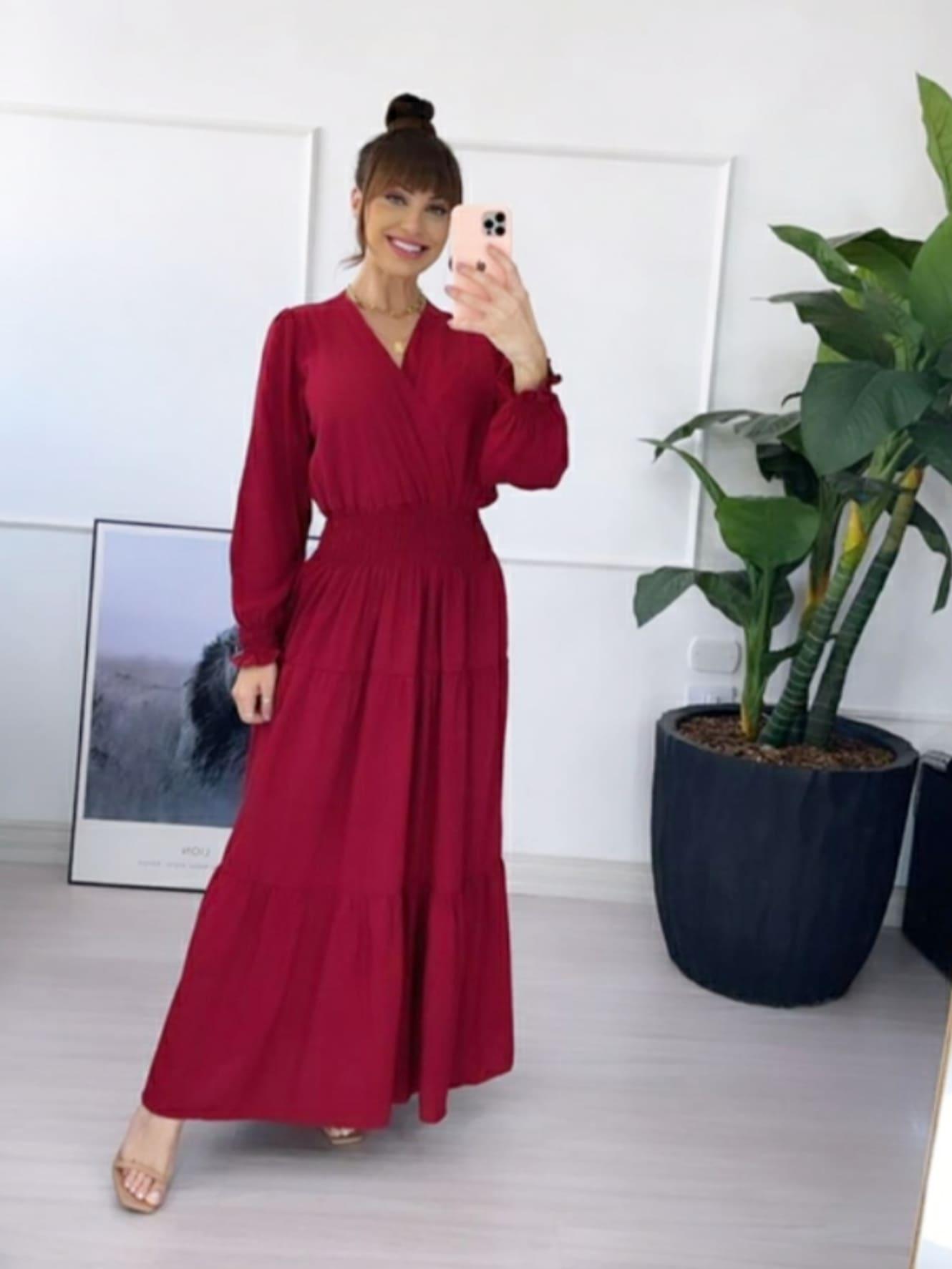 Vestido Fernanda cor Marsala