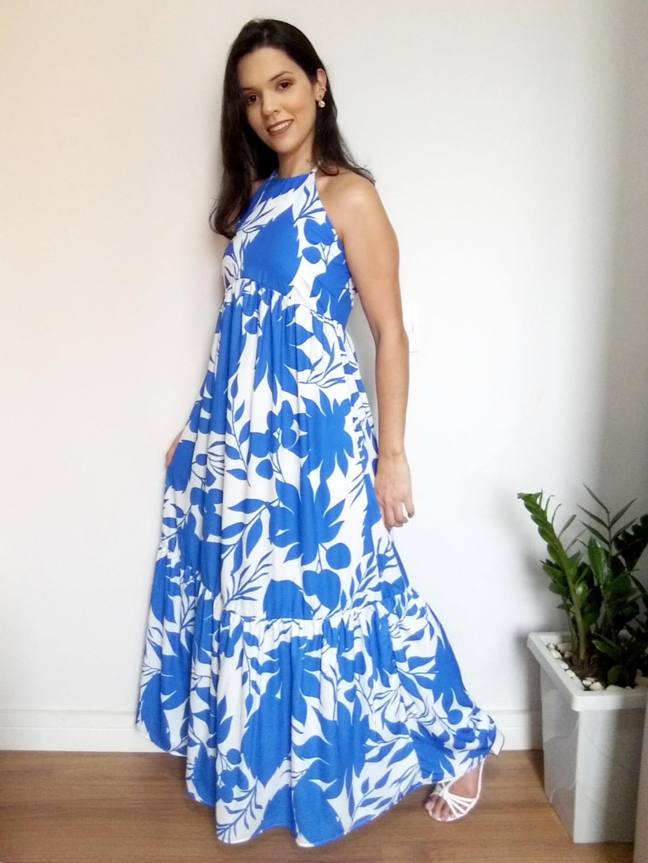Vestido Grécia azul e branco