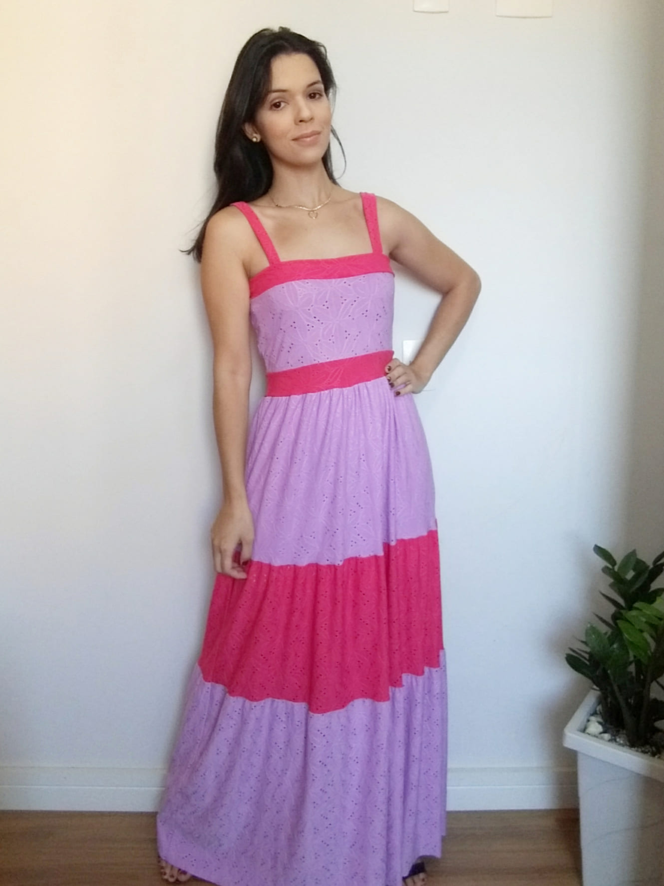 Vestido laise pink e lilás