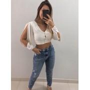 Calça Mom Jeans Craquelada
