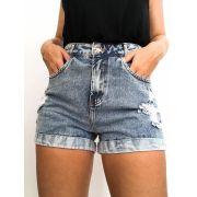Short Mom Premium Jeans Bainha Virada