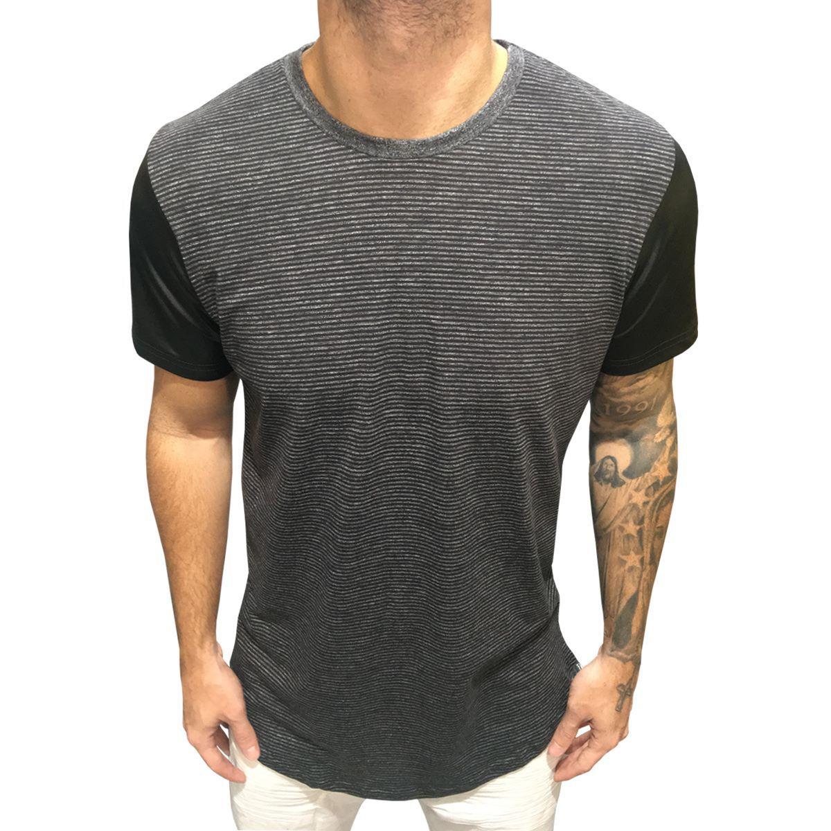 Camisa Listrada Long mangas tecido couro