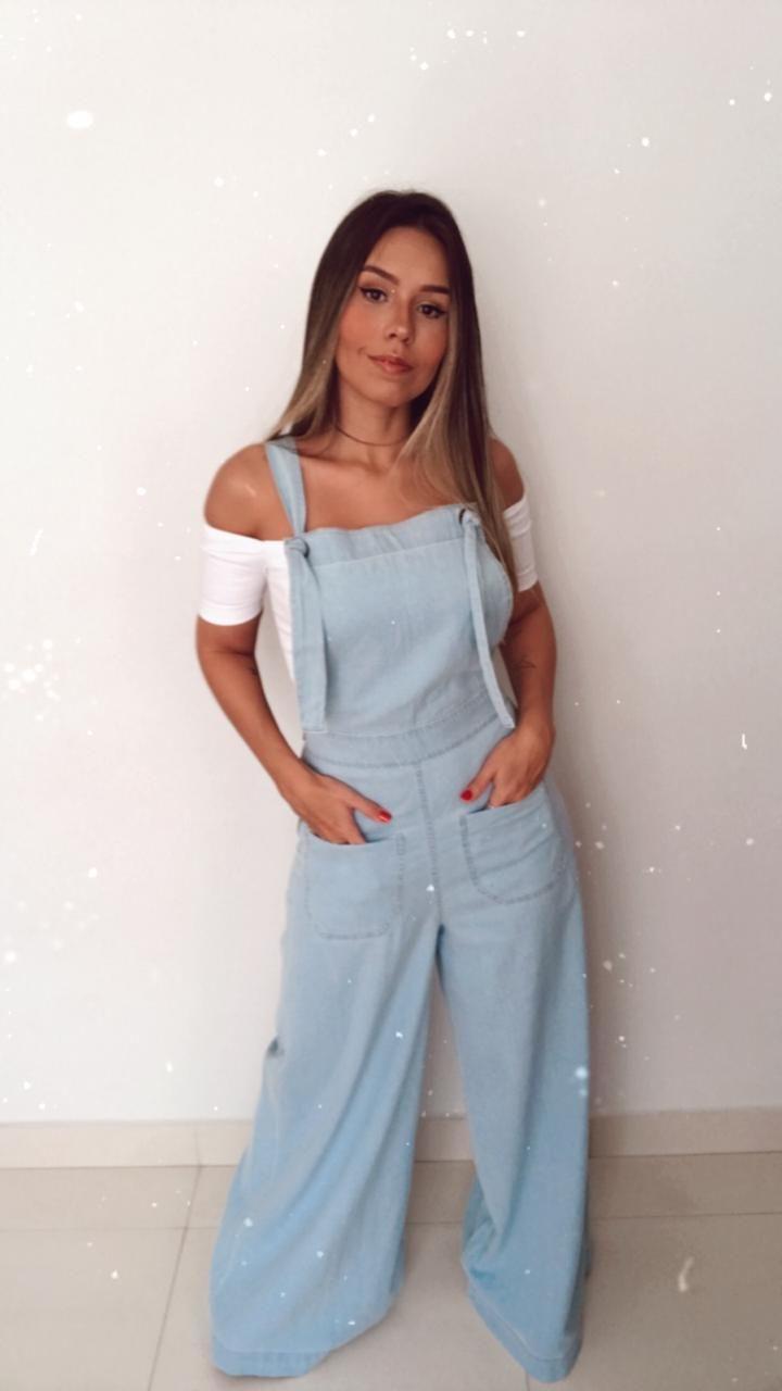 Macacao Pantalona Jeans