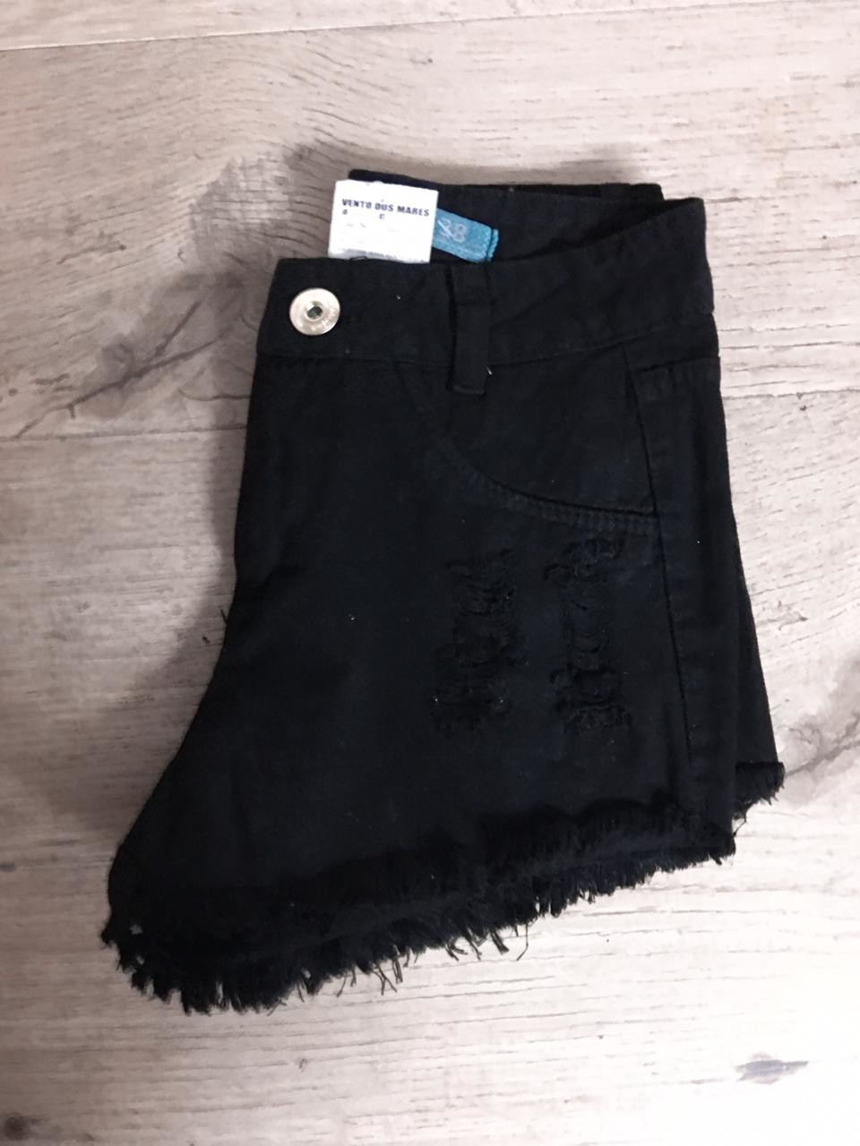 Short Destroyed Preto Jeans
