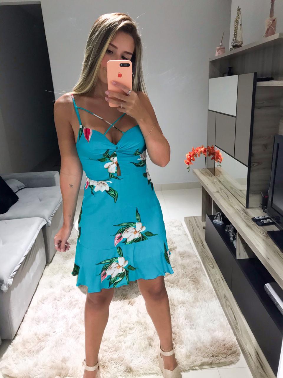 Vestido Floral Babado Tiras