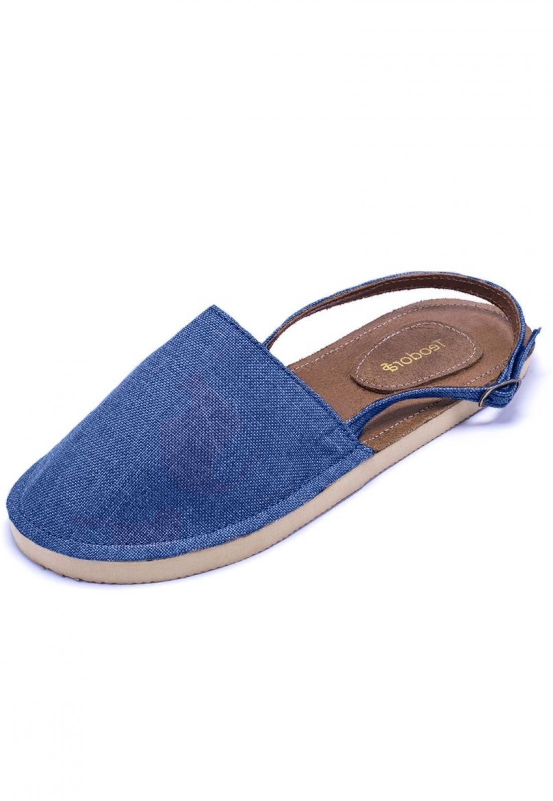 Alpargatas Teodora's Abertas Em Tecido AA1918 Azul Jeans