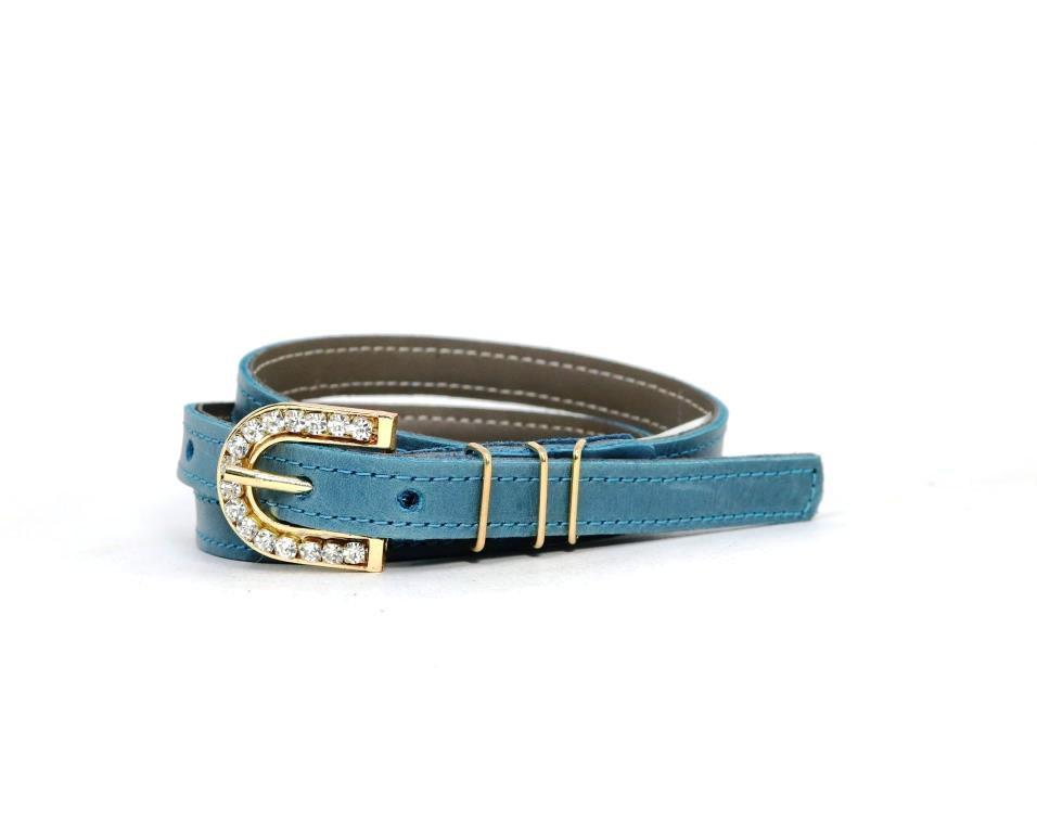 Cinto Teodora's Couro Azul Jeans