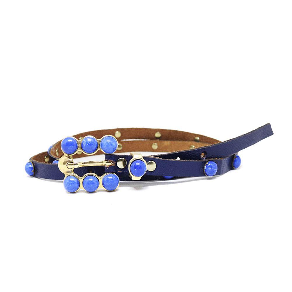 Cinto Teodora's Couro Pedras Azul